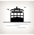 Silhouette cargo container ship vector image vector image