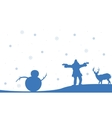 Silhouette of people snowman and deer Christmas vector image vector image