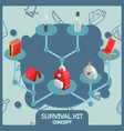 survival kit color isometric concept icons vector image vector image