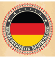 Vintage label cards of Germany flag vector image