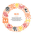 wifi wreless banner card circle vector image