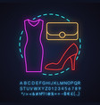 womens clothes store neon light concept icon