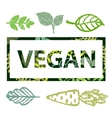 vegan print stamp t shirt with leaves vector image
