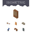 isometric furniture set of table sideboard vector image