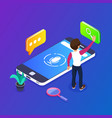 3d isometric voice search concept search for vector image vector image
