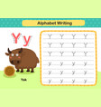alphabet letter y-yak exercise with cartoon