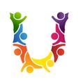 Alphabet Teamwork Letter U vector image vector image