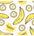 Banana with slices seamless pattern vector image vector image