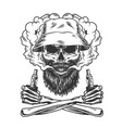 bearded and mustached skull wearing panama hat vector image vector image