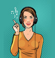 beautiful girl in headphones listening to music vector image vector image