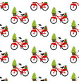 bicycle with christmas tree seamless pattern vector image vector image