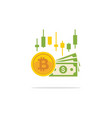 bitcoin and banknotes of dollars in flat style vector image