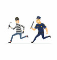 burglar and policeman - cartoon people characters vector image
