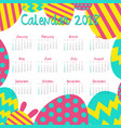 calendar template for 2018 with colorful eggs vector image