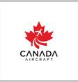 canadian maple aviation logo aircraft vector image vector image