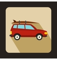 Car with luggage icon flat style vector image