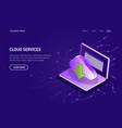 cloud services concept web template violet vector image