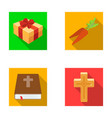 cross bible gift and carrotseaster set vector image vector image