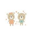 cute teddy bear couple vector image vector image