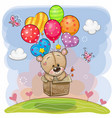 cute teddy bear in the box is flying on balloons vector image vector image