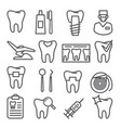 dental line icons set on white background vector image vector image