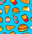 Fast food background with cute cartoon elements vector image vector image