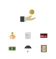 flat icon incoming set of counter payment vector image vector image
