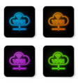 glowing neon vpn network cloud connection icon vector image vector image
