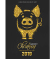 golden glitter pig icon new year card vector image vector image