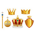 golden royal symbols crown with jewels for knight vector image
