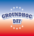 Groundhog Day banner on red and blue background