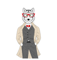 Hand drawn anthropomorphic animal with glasses vector image