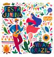 happy colorful festa junina viva brazil poster vector image vector image