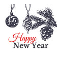 happy new year hand drawn card vector image vector image