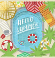hello summer banner with water pool vector image vector image