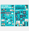 information and communication technology banner vector image vector image