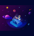 isometric virtual reality concept a boy in vector image vector image