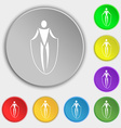 jump rope icon sign Symbol on eight flat buttons vector image