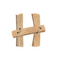 letter h wood board font plank and nails alphabet vector image