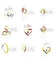 Linear leaf abstract logo set connected vector image