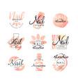 manicure nail studio logo design set creative vector image vector image