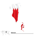 Map of Bahrain with flag vector image vector image