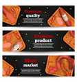 meat market horizontal banners vector image vector image