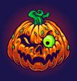 monster jack o lantern creepy pumpkins halloween vector image vector image