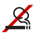 no smoking icon cigarette and red crossed line vector image