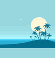 ocean and tropical island on blue background vector image vector image