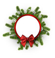 Round christmas background with spruce branches