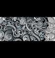 sea life hand drawn doodle banner cartoon vector image vector image