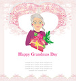 senior woman with a bunch of flowers Happy vector image
