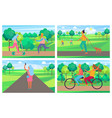 set of posters with people having fun in park vector image vector image